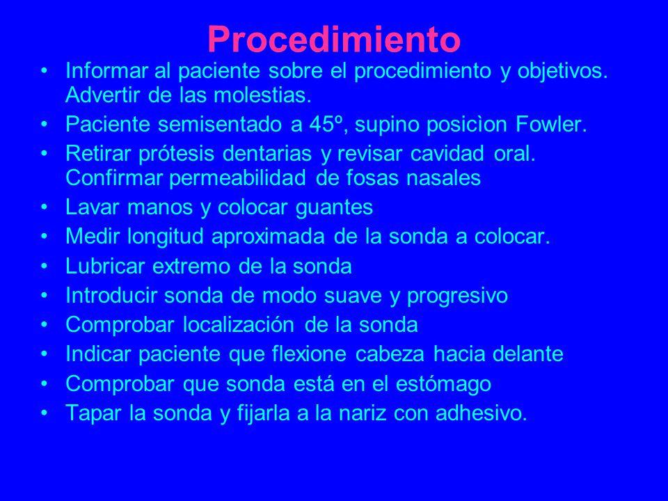 Procedimiento Informar al paciente sobre el procedimiento y objetivos. Advertir de las molestias.
