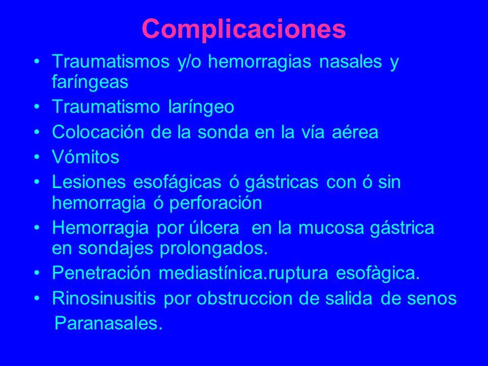 Complicaciones Traumatismos y/o hemorragias nasales y faríngeas