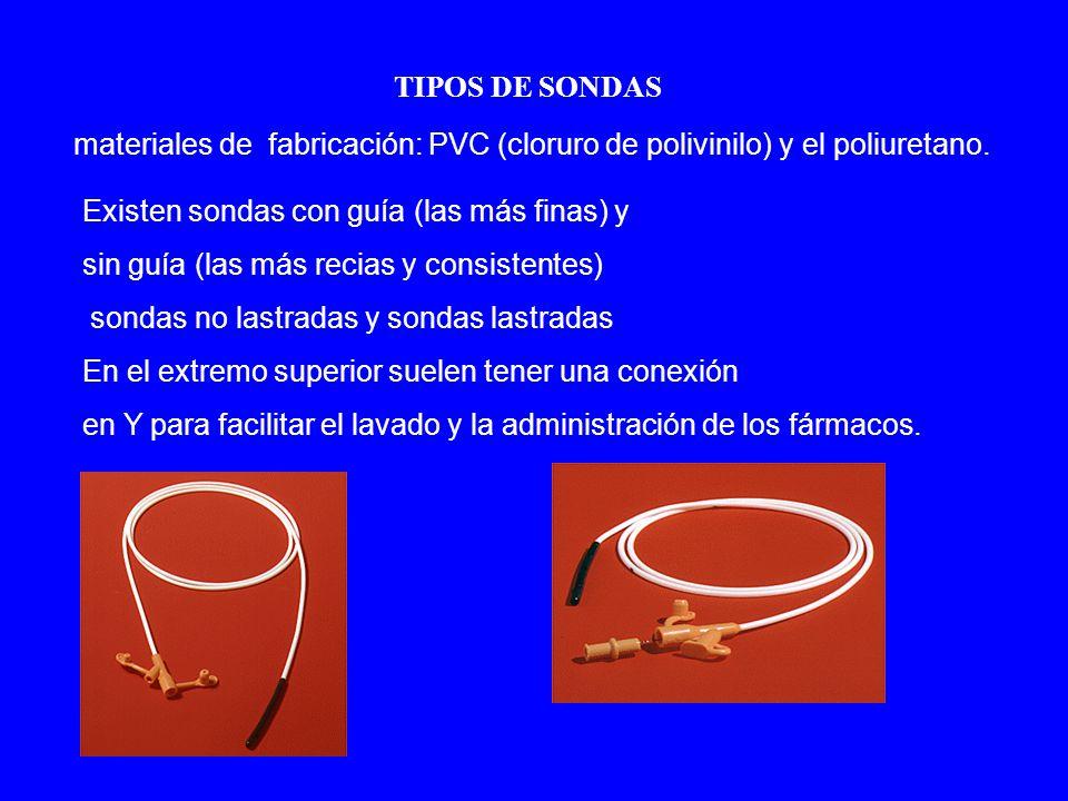 TIPOS DE SONDAS materiales de fabricación: PVC (cloruro de polivinilo) y el poliuretano. Existen sondas con guía (las más finas) y.