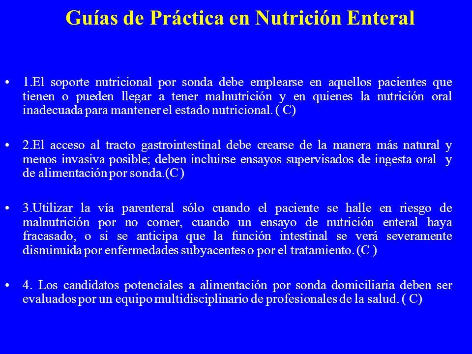 Guías de Práctica en Nutrición Enteral