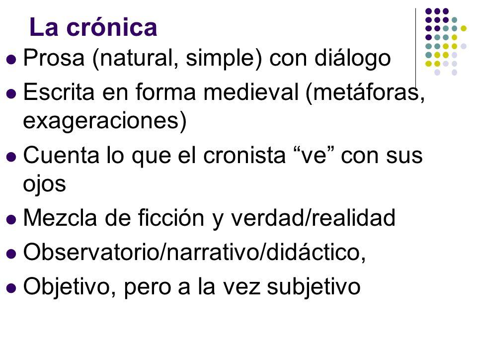 La crónica Prosa (natural, simple) con diálogo