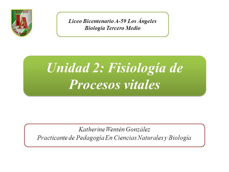 Unidad 2: Fisiología de Procesos vitales