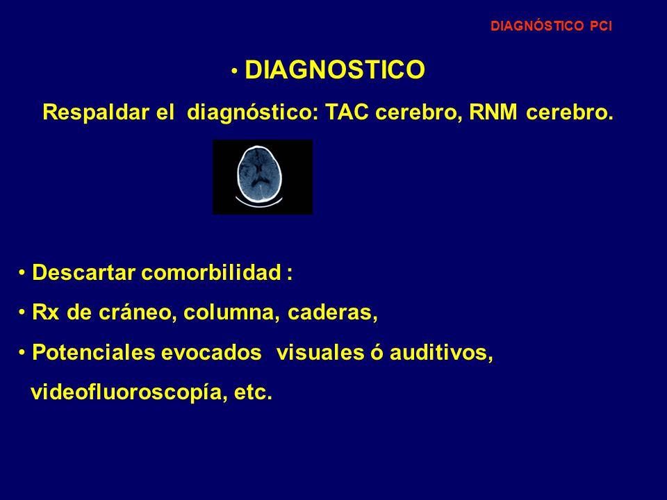 Respaldar el diagnóstico: TAC cerebro, RNM cerebro.