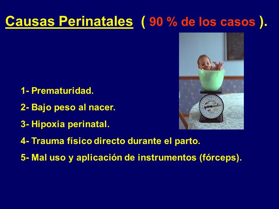 Causas Perinatales ( 90 % de los casos ).