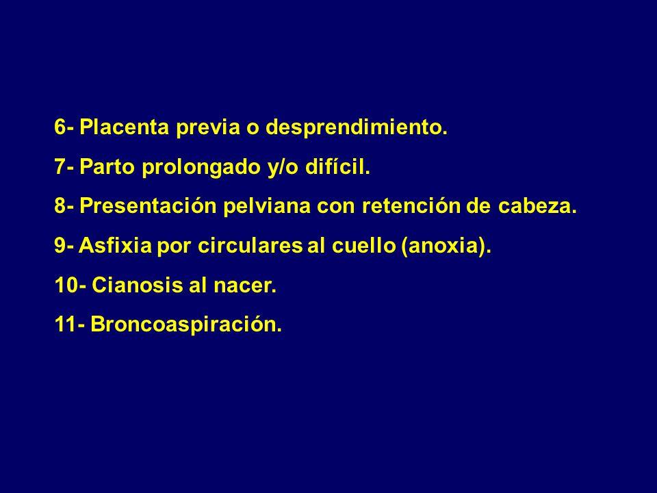 6- Placenta previa o desprendimiento.