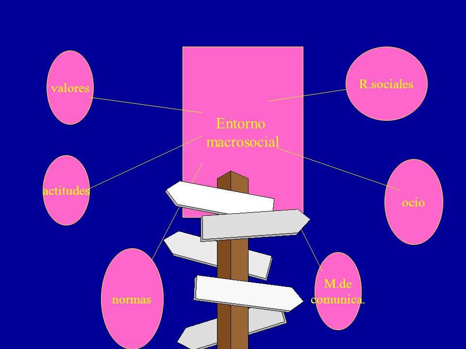Entorno macrosocial R.sociales valores actitudes ocio M.de normas