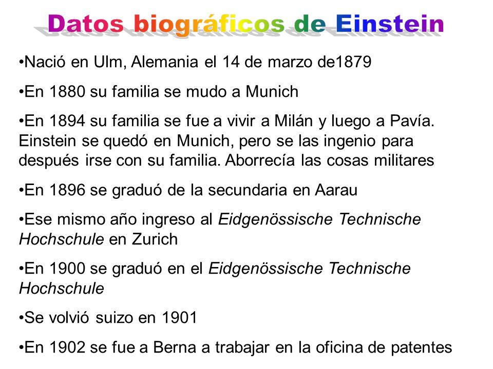 Datos biográficos de Einstein