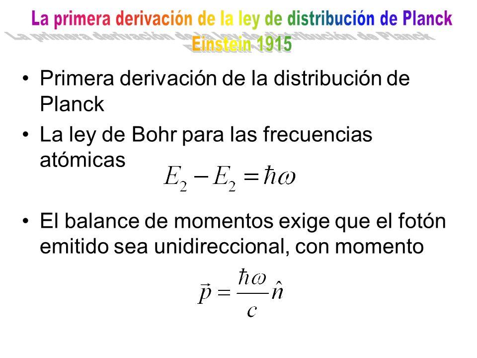 La primera derivación de la ley de distribución de Planck