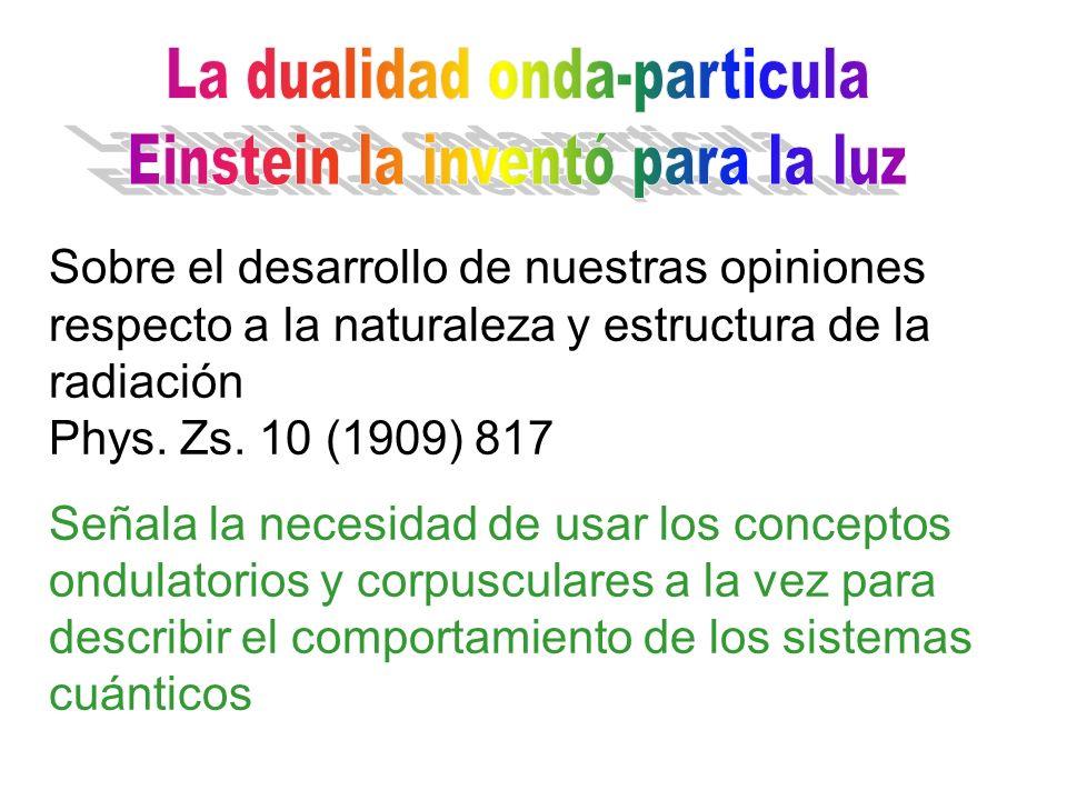 La dualidad onda-particula Einstein la inventó para la luz