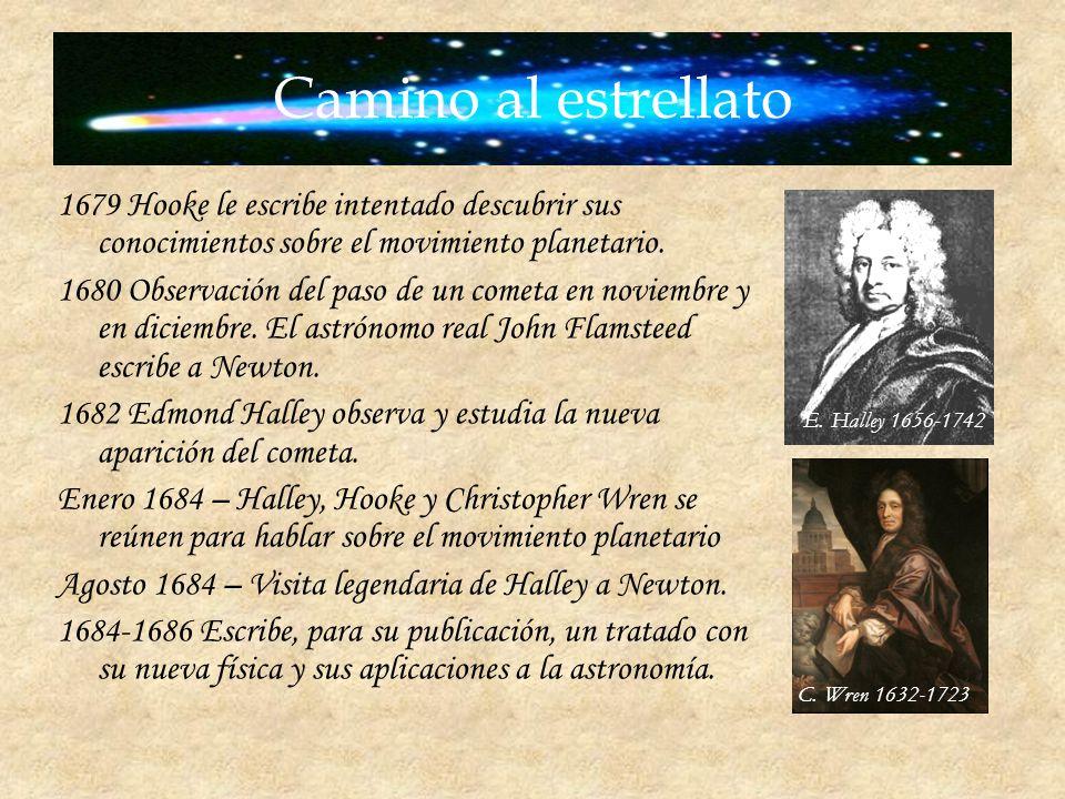 Camino al estrellato 1679 Hooke le escribe intentado descubrir sus conocimientos sobre el movimiento planetario.