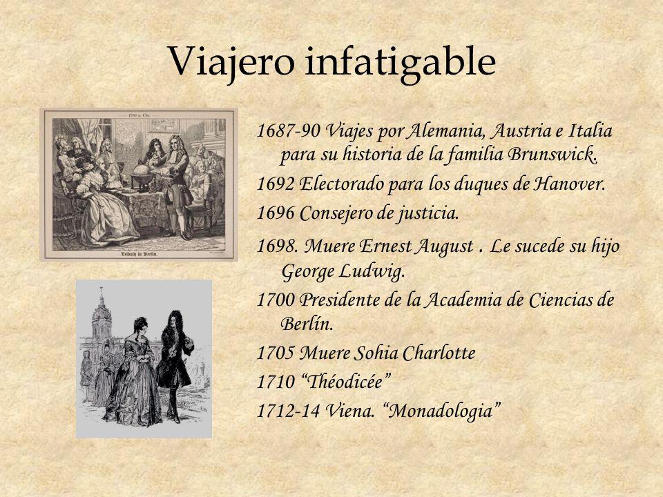 Viajero infatigable 1687-90 Viajes por Alemania, Austria e Italia para su historia de la familia Brunswick.