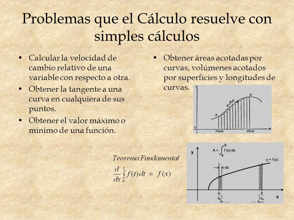 Problemas que el Cálculo resuelve con simples cálculos