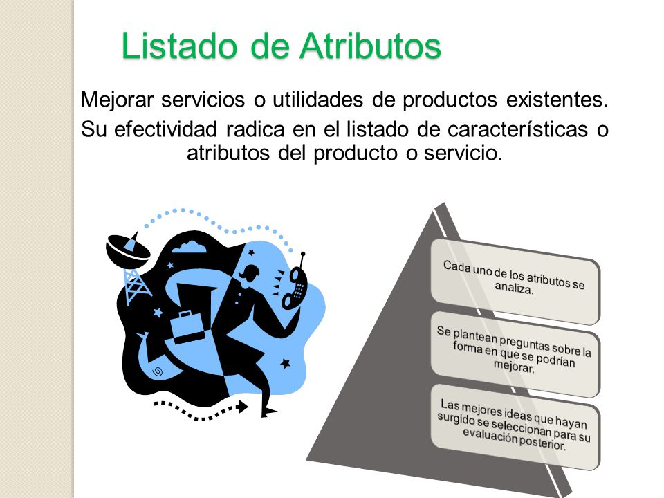 Listado de Atributos Mejorar servicios o utilidades de productos existentes.
