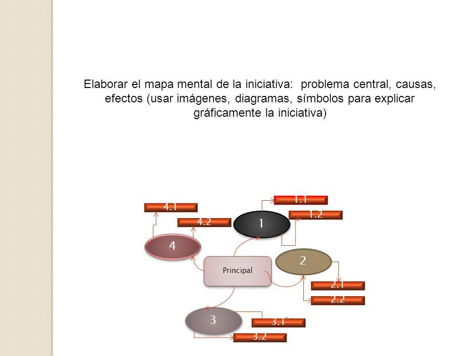 Elaborar el mapa mental de la iniciativa: problema central, causas, efectos (usar imágenes, diagramas, símbolos para explicar gráficamente la iniciativa)