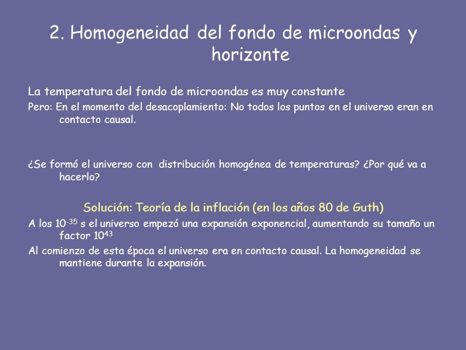 2. Homogeneidad del fondo de microondas y horizonte
