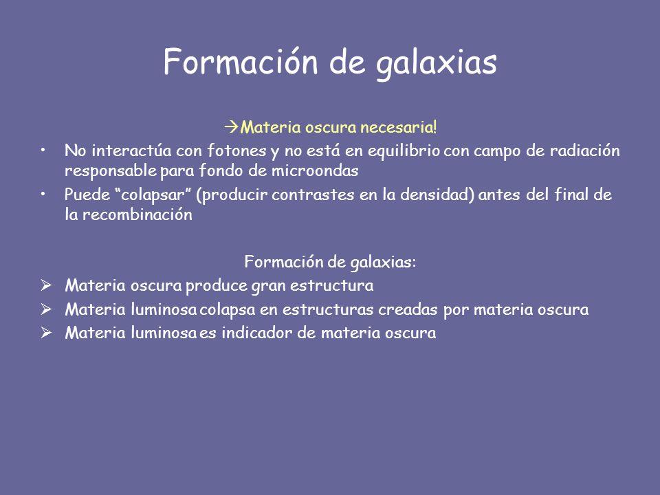 Formación de galaxias Materia oscura necesaria!