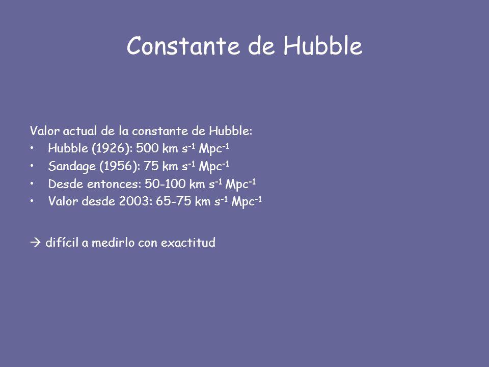 Constante de Hubble Valor actual de la constante de Hubble: