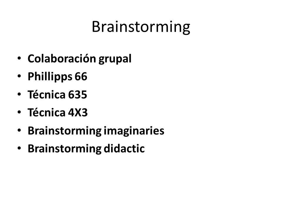 Brainstorming Colaboración grupal Phillipps 66 Técnica 635 Técnica 4X3