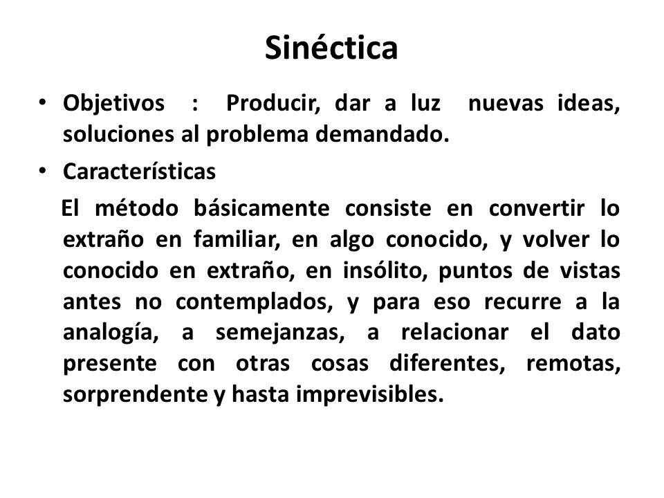 Sinéctica Objetivos : Producir, dar a luz nuevas ideas, soluciones al problema demandado. Características.