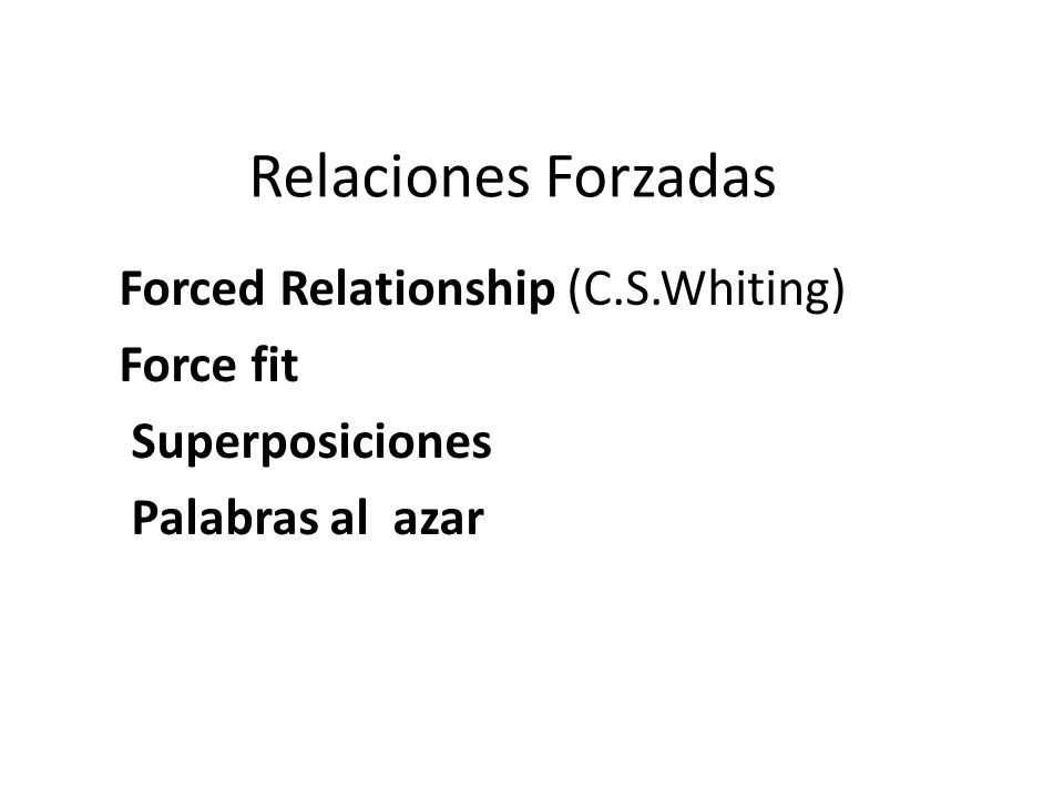 Relaciones Forzadas Forced Relationship (C.S.Whiting) Force fit