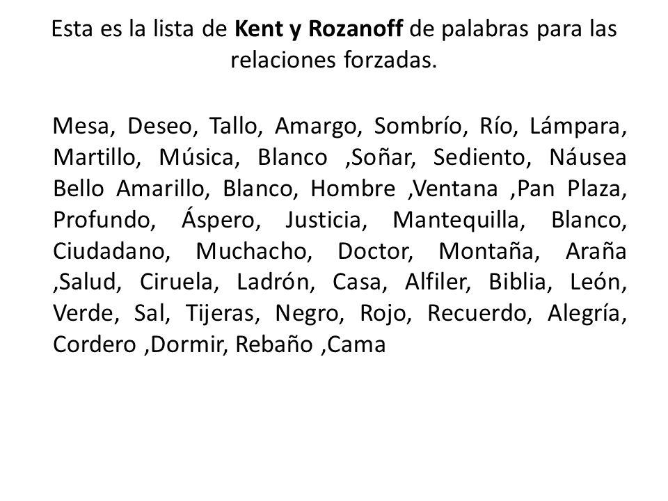 Esta es la lista de Kent y Rozanoff de palabras para las relaciones forzadas.