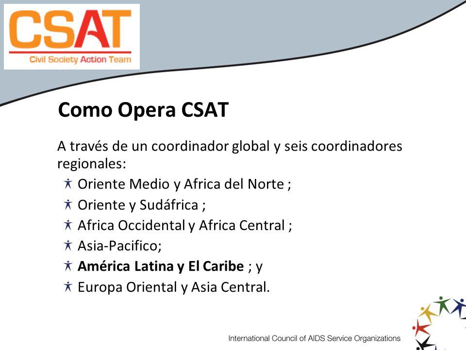 Como Opera CSATA través de un coordinador global y seis coordinadores regionales: Oriente Medio y Africa del Norte ;