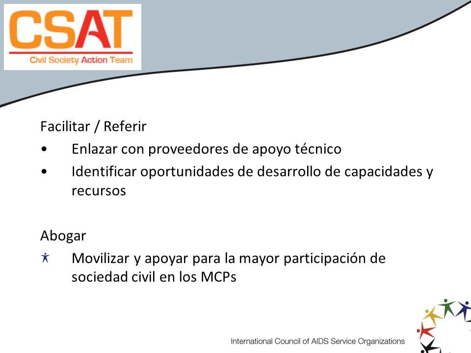 Facilitar / ReferirEnlazar con proveedores de apoyo técnico. Identificar oportunidades de desarrollo de capacidades y recursos.