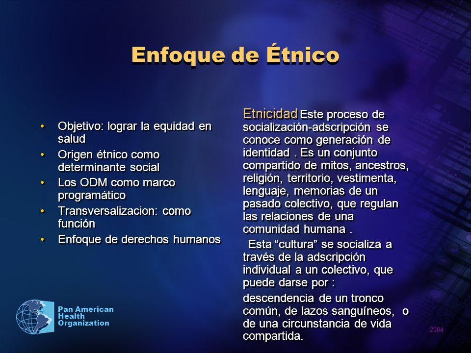 Enfoque de ÉtnicoObjetivo: lograr la equidad en salud. Origen étnico como determinante social. Los ODM como marco programático.