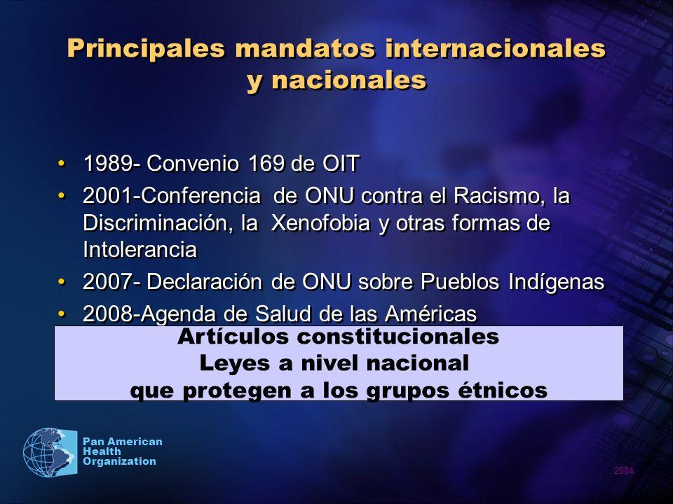 Principales mandatos internacionales y nacionales