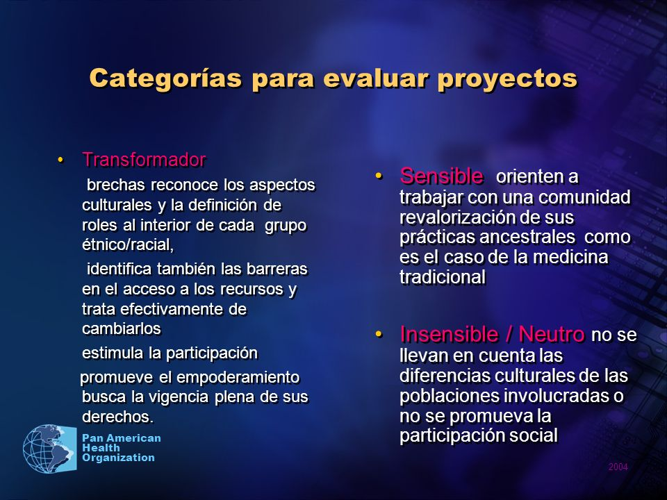 Categorías para evaluar proyectos