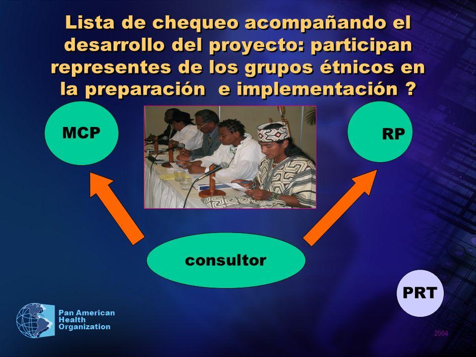 Lista de chequeo acompañando el desarrollo del proyecto: participan representes de los grupos étnicos en la preparación e implementación