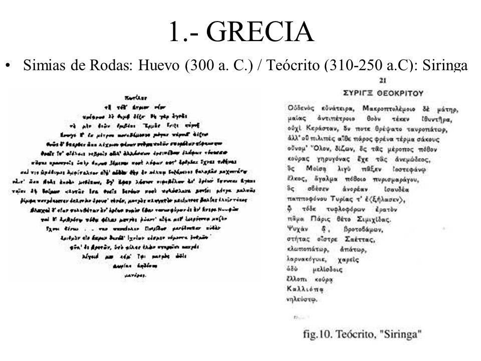 1.- GRECIA Simias de Rodas: Huevo (300 a. C.) / Teócrito (310-250 a.C): Siringa