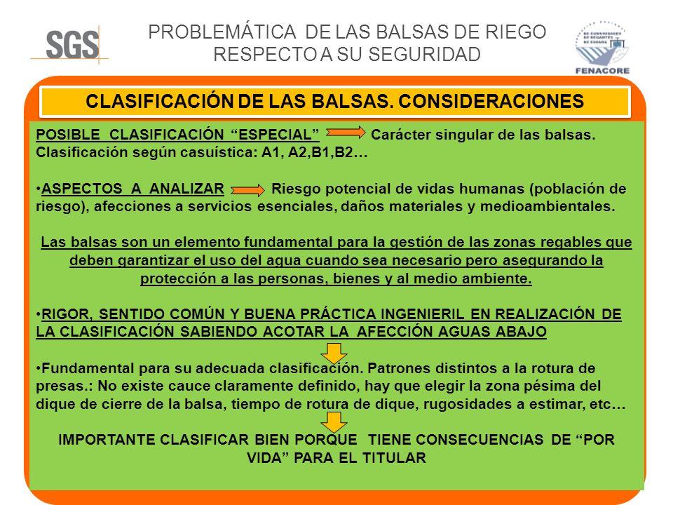 CLASIFICACIÓN DE LAS BALSAS. CONSIDERACIONES