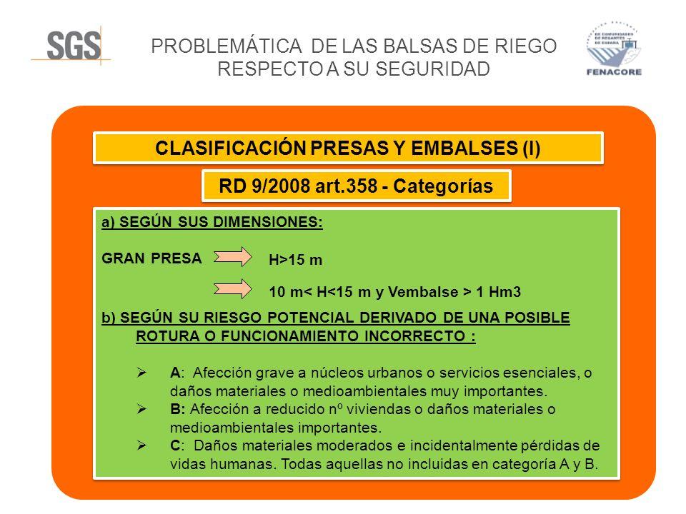 CLASIFICACIÓN PRESAS Y EMBALSES (I)