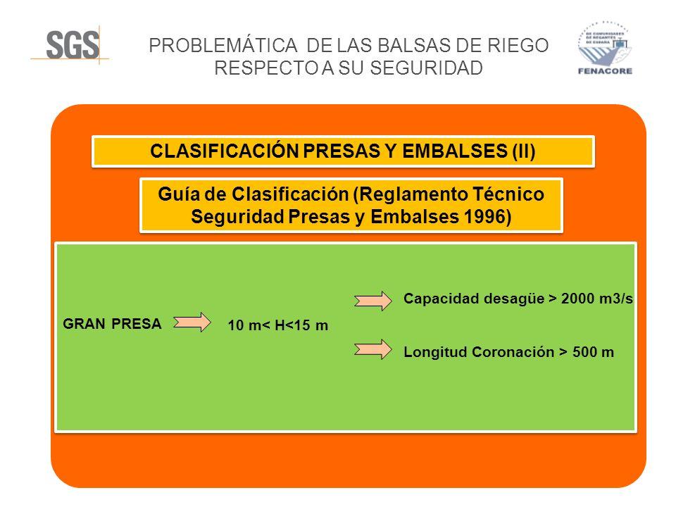 CLASIFICACIÓN PRESAS Y EMBALSES (II)