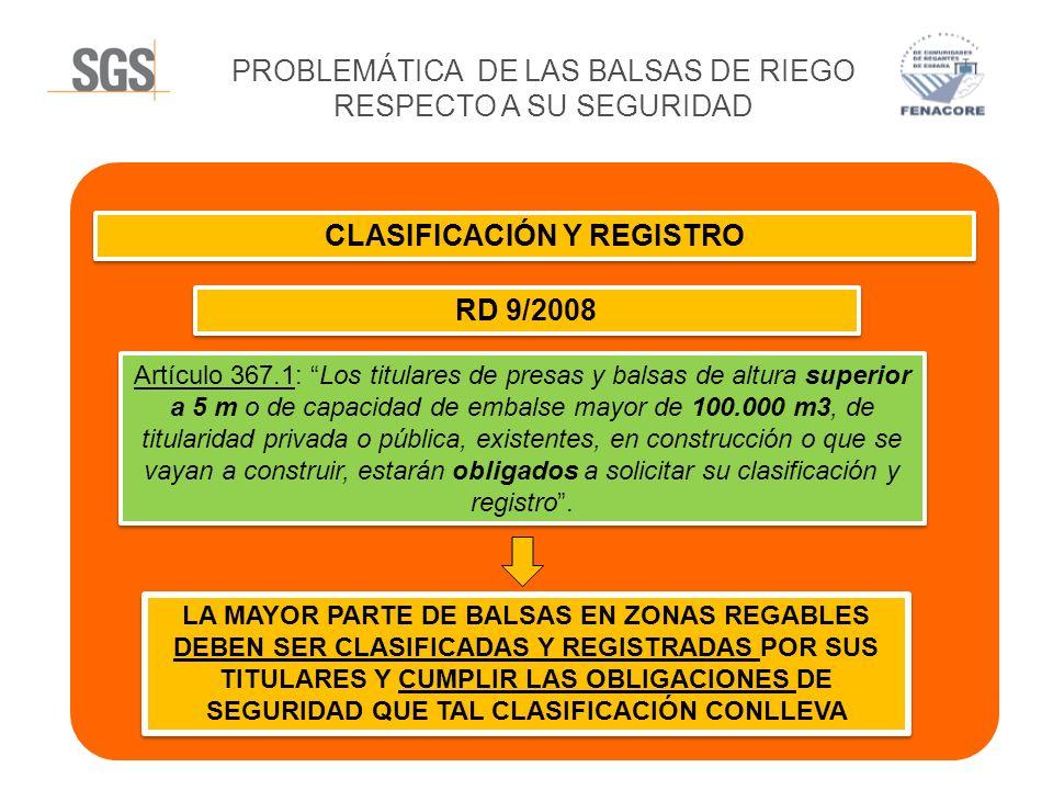 CLASIFICACIÓN Y REGISTRO