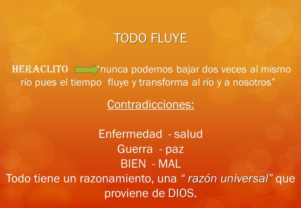 TODO FLUYE Contradicciones: Enfermedad - salud Guerra - paz BIEN - MAL