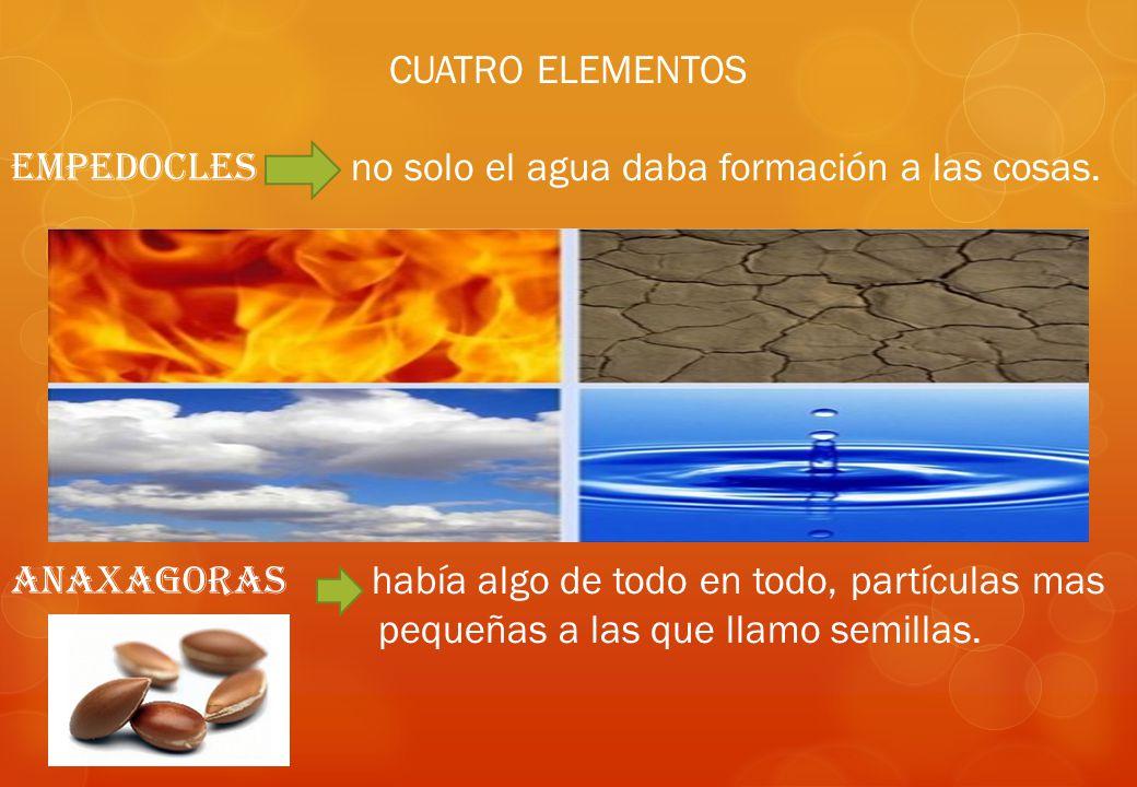 CUATRO ELEMENTOS EMPEDOCLES no solo el agua daba formación a las cosas. ANAXAGORAS había algo de todo en todo, partículas mas.