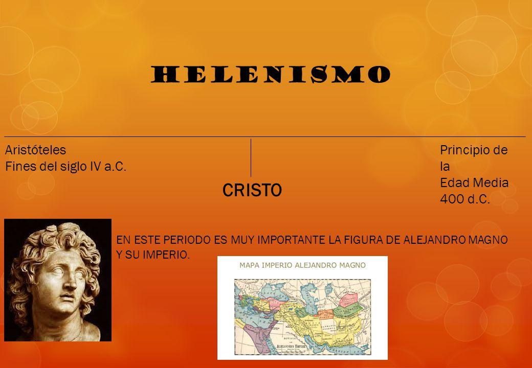 HELENISMO CRISTO Aristóteles Fines del siglo IV a.C. Principio de la