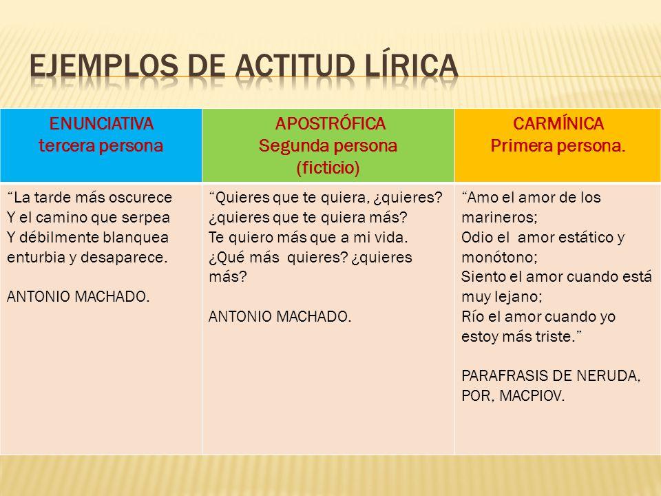 Ejemplos de actitud lírica