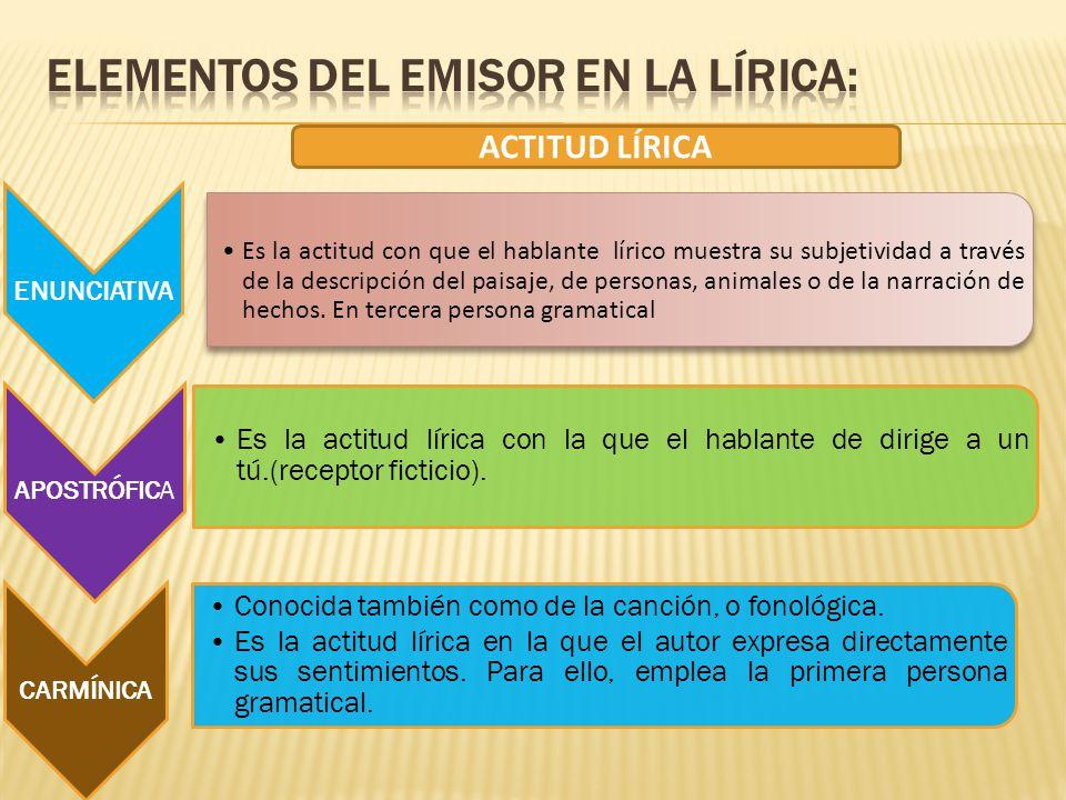ELEMENTOS DEL EMISOR EN LA LÍRICA: