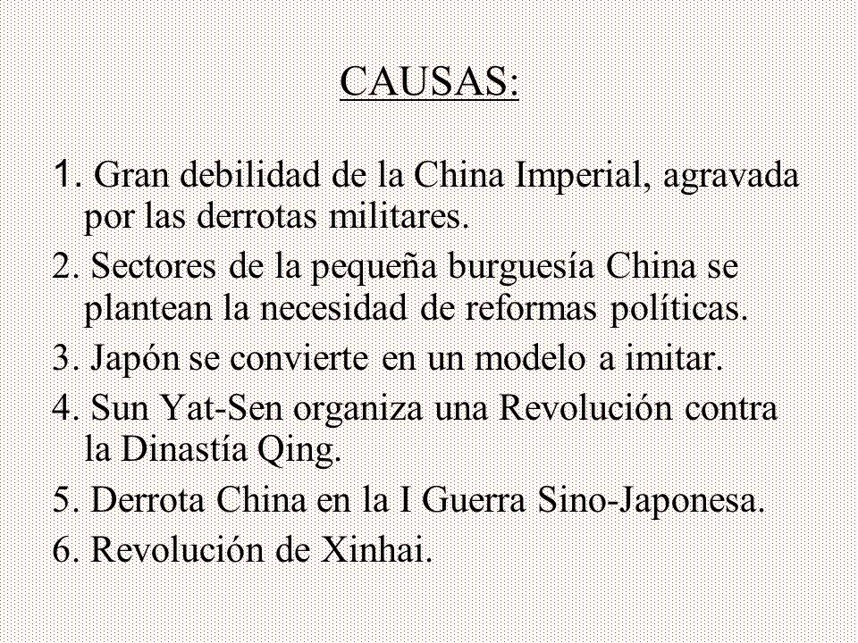 CAUSAS: 1. Gran debilidad de la China Imperial, agravada por las derrotas militares.