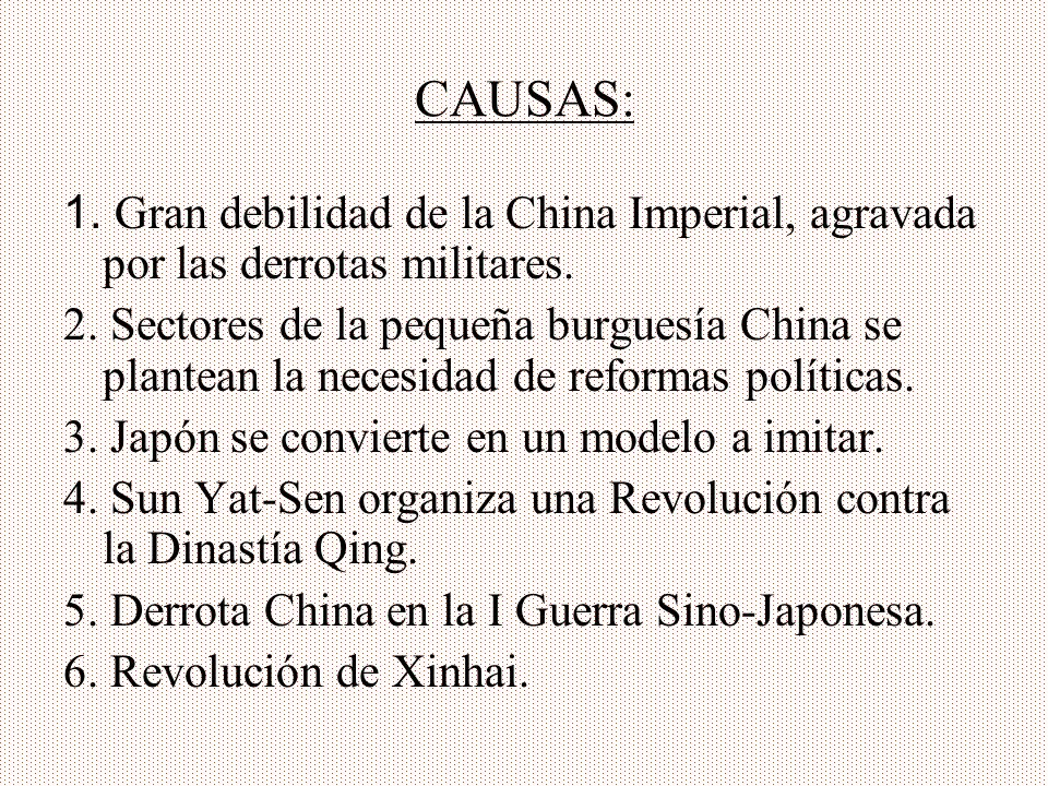 CAUSAS:1. Gran debilidad de la China Imperial, agravada por las derrotas militares.