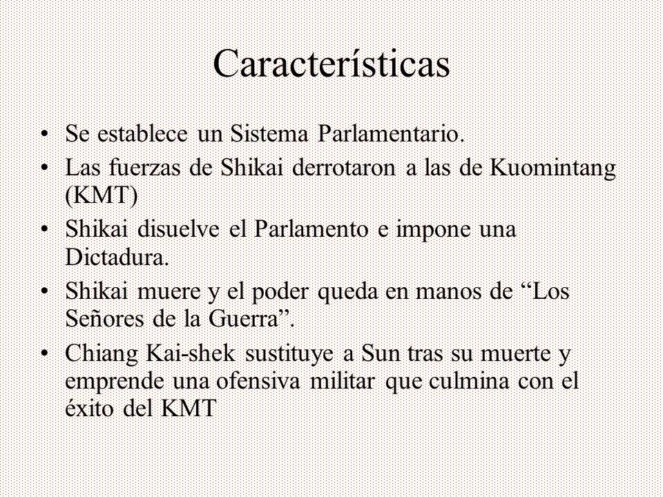 Características Se establece un Sistema Parlamentario.