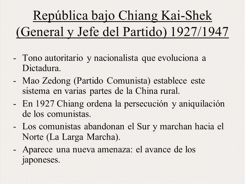 República bajo Chiang Kai-Shek (General y Jefe del Partido) 1927/1947