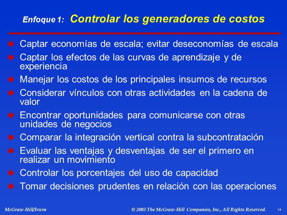 Enfoque 1: Controlar los generadores de costos