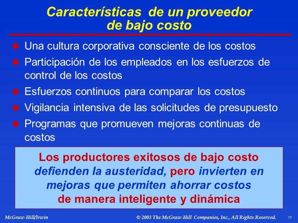 Características de un proveedor de bajo costo