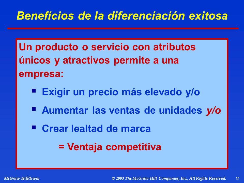 Beneficios de la diferenciación exitosa