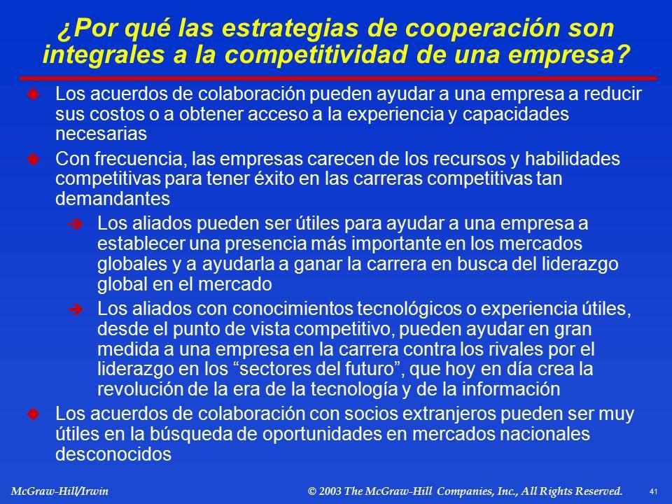 ¿Por qué las estrategias de cooperación son integrales a la competitividad de una empresa