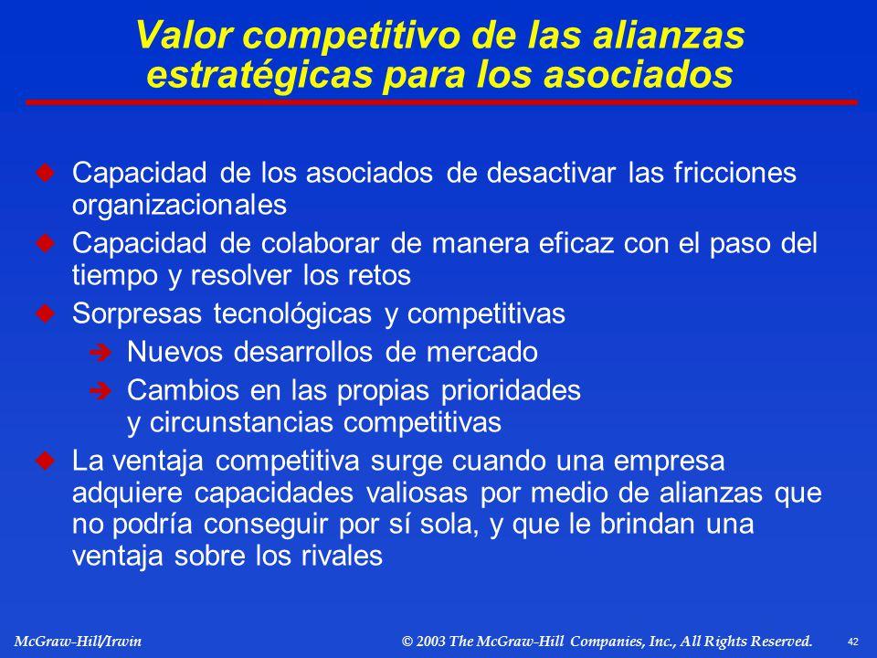 Valor competitivo de las alianzas estratégicas para los asociados